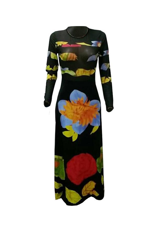 Vestido largo de la envoltura del tobillo de la envoltura de la tela sana atractiva impresa alrededor del cuello