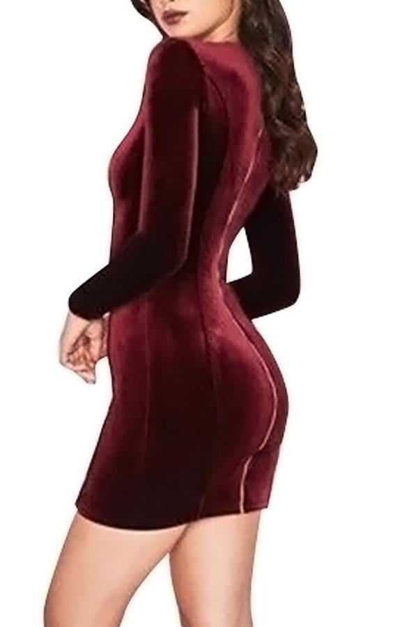 Sexy Deep V Neck Hollow-out Wine Red Velvet Sheath Mini Dress