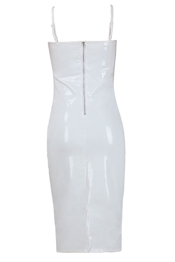 Sexy V Neck Zipper Design White Polyester Sheath Knee Length Dress