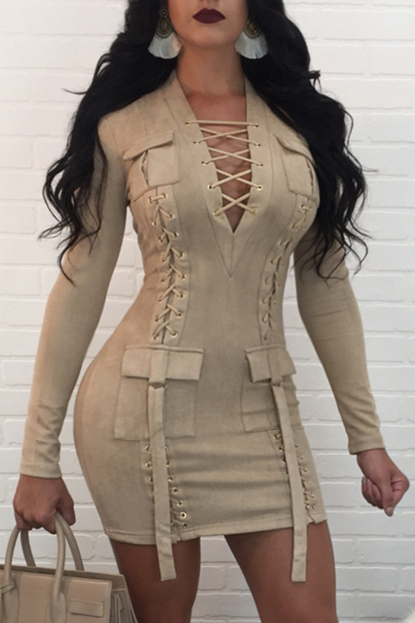 Sexy V Neck Bandage Design Apricot Polyester Mini Dress Dresses <br><br>