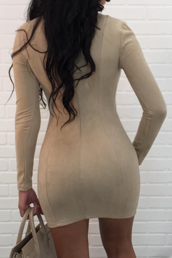 Sexy V-Ausschnitt Bandage Design Aprikose Polyester Minikleid