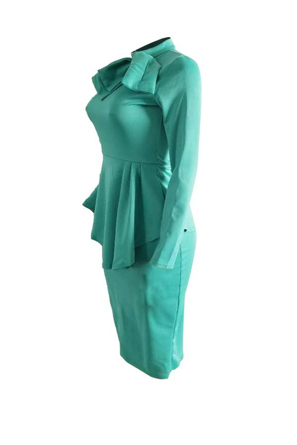 Trendy Round Neck Drape Collage Design Green Polyester Sheath Mid Calf Dress