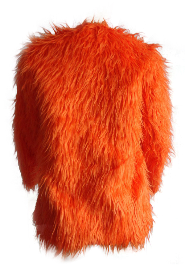 Euramerican Round Neck Long Sleeves Orange Faux Fur Coat