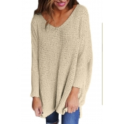 Lovely Blending V Neck Long Sleeve Regular Pullove