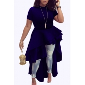 Elegante Mandarin Collar Asymmetrical Falbala Design Blue Polyester Mid Calf Dress