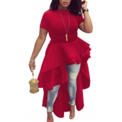 Elegante Mandarin Collar Asymmetrical Falbala Design Red Polyester Mid Calf Dress