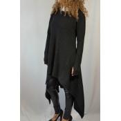 Ocio cuello redondo mangas largas negro mezclas de algodón suéteres