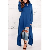 Leisure Round Neck Long Sleeves Blue Cotton Blends Pullovers