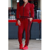 Leisure Round Neck Zipper Design Red Cotton Two-piece Pants Set