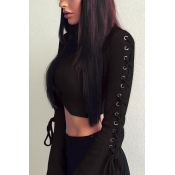 Trendy Round Neck Lace-up Black Cotton Sweaters