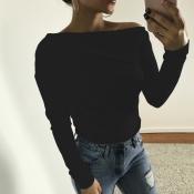 Freizeit Tau Schulter schwarz Baumwolle Shirts