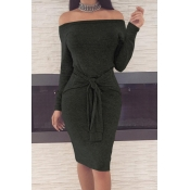 Casual Dew Shoulder Lace-up Black Polyester Sheath Knee Length Dress