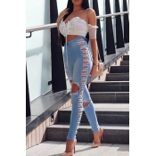 Sexy High Waist Hollow-out Light Blue Polyester Pa