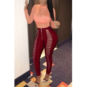 Sexy High Waist Hollow-out Wine Red Polyester Pant