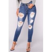 Модные высокой талией Сломанные отверстия темно-синий джинсовый Pan