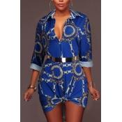 Trendy Umlegekragen bedruckt blau gesundes Gewebe Minikleid (ohne Gürtel)
