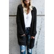 Lovely Euramerican Long Sleeves Black Velvet Cardi