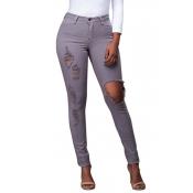 Trendy Mid Waist Broken Holes Grey Denim Pants