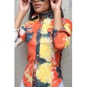 Euramerican Turndown Collar Long Sleeves Printed Yellow Elastic Fabric Shirts