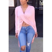 Sexy V Neck Asymmetrical Pink Blending Shirts