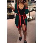 Leisure V Neck Printed Patchwork Green Polyester Long Coat