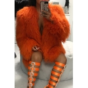 Euramerican Round Neck Long Sleeves Orange Faux Fur Coat
