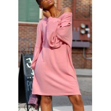 Leisure Dew Shoulder Pink Cotton Blend Knee Length Dress