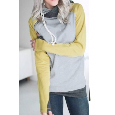 Lovely Euramerican Long Sleeves Patchwork Yellow Blending Hoodies