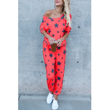 Euramerican Dew Shoulder Five-stars Printed Red Cotton Two-piece Pants Set