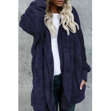 Lovely Stylish Long Sleeves Royalblue Blending Long Coat