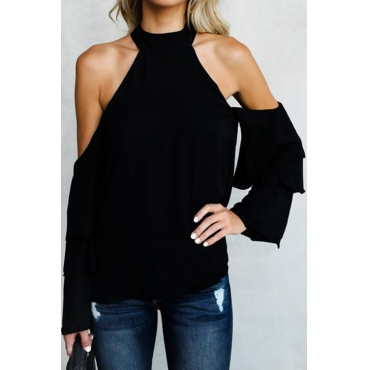 Trendy Hollow-out Black Chiffon Shirts