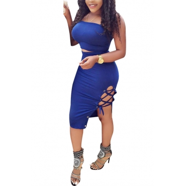 Sexy Dew Shoulder Lace-up Hollow-out Blue Milk Fiber Two-piece Skirt Set