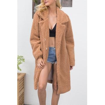 Trendy Turndown Collar Long Sleeves Brown Faux Fur Long Wool Coat