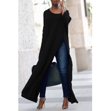 Leisure Round Neck High Split Black Cotton Shirts