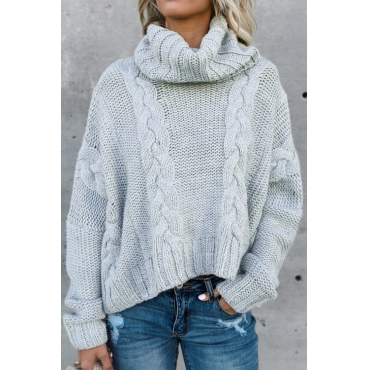 Lovely Euramerican Turtleneck Long Sleeves Grey Acrylic Sweaters