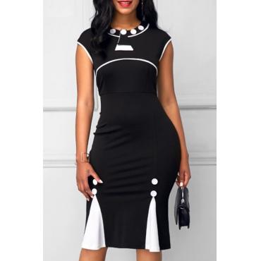 Trendy Round Neck Zipper Design Black Healthy Fabric Sheath Knee Length Dress