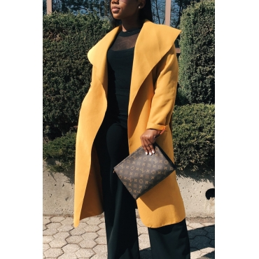 Trendy Turndown Collar Long Sleeves Yellow Cotton Long Wool Coat