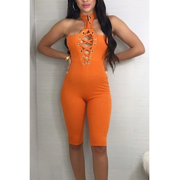 Sexy Hollow-out Orange Polyester One-piece Jumpsuits