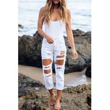Trendy Mid Waist Broken Holes White Denim Jeans