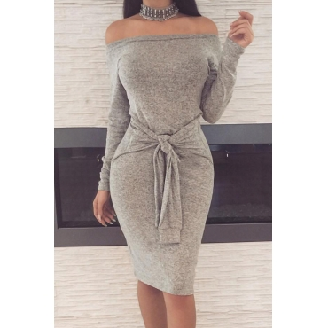 Casual Dew Shoulder Lace-up Grey Polyester Sheath Knee Length Dress