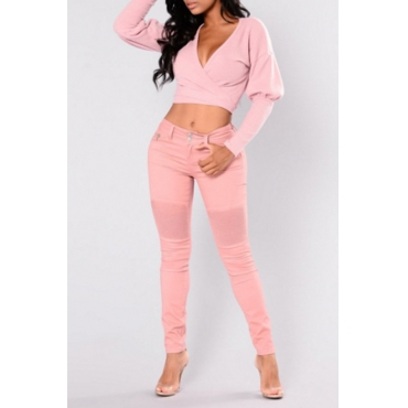 Euramerican  V Neck Long Sleeves Pink Cotton Pullovers