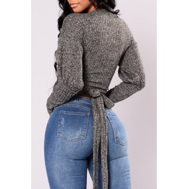 Euramerican  V Neck Long Sleeves Grey Cotton Pullovers
