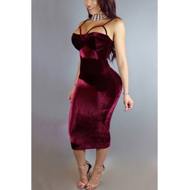 Sexy Hollow-out Wine Red Velvet Sheath Mid Calf Dress