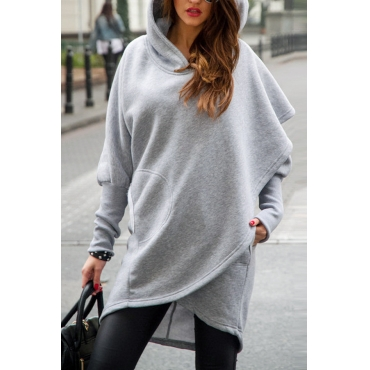 Leisure Hooded Long Sleeves Asymmetrical Light Grey Polyester Long Coat