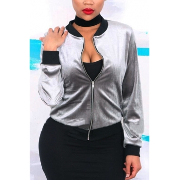 Leisure Round Neck Zipper Design Grey Velvet Coat