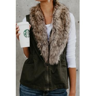 Lovely Euramerican Fur Design Green Blending Waistcoats