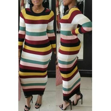 Stylish Round Neck Striped Polyester Sheath Ankle Length Dress