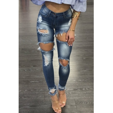 Leisure Broken Holes Embroidered Design Dark Blue Denim Pants