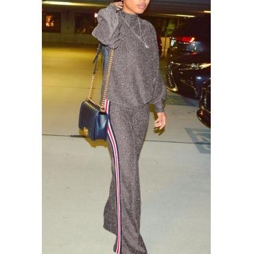 Stylish Round Neck Patchwork Grey Nylon Two-piece Pants Set