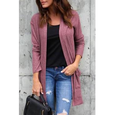 Lovely Euramerican Long Sleeves Pink Polyester Long Coat